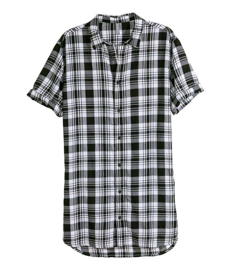 Long short-sleeve shirt in black & white plaid. | H&M Divided Guys