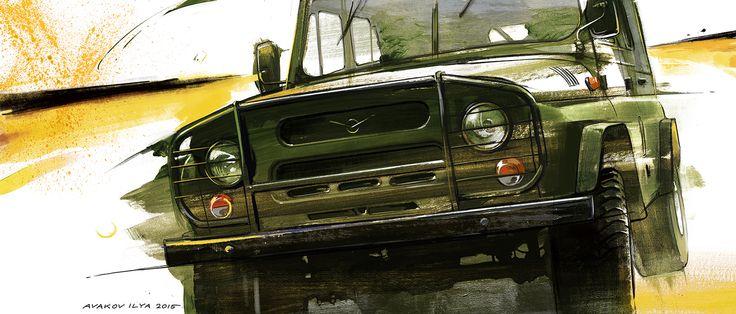 UAZ 469, car art, auto painting