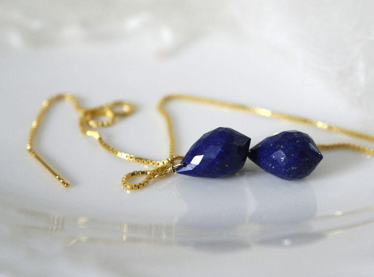 Vergoldete Ohrringe - Lapis Lazuli Ohrdurchzieher Ohrhänger Ohrringe Box - ein Designerstück von Morgentau-Schmuck bei DaWanda