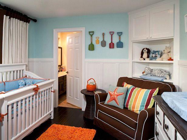 Cozy nurseryBoys Nurseries, Kids Room, Baby Boys, Beach Theme, Baby Room, Corner Shelves, Boys Room, Nurseries Ideas, Baby Nurseries