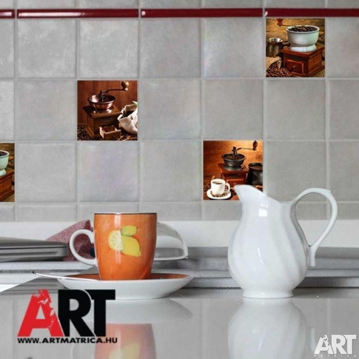 Csempe matrica  Kávé őrlők. Kávés konyhai dekorációk.
