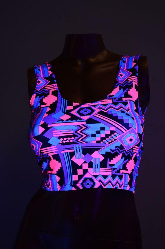 Neon UV Glow Pink & Black Aztec Print Lycra Spandex Bodycon Clubwear Tank Crop Top with Scoop Neckline   -E7992