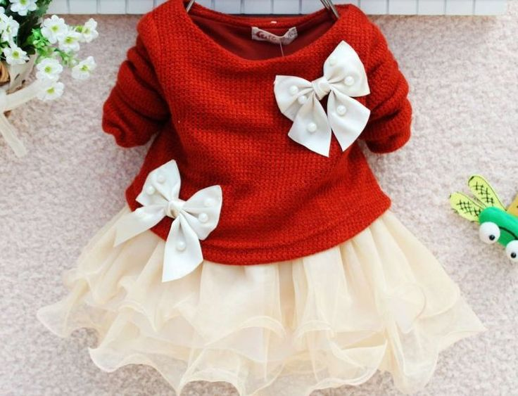 Precious red sweater and beige tulle dress with cream bows and pearl detail. Sizes 3-18m. $25 Order at www.babylunaboutique.com