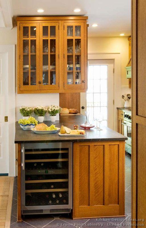 Arts And Crafts Kitchen Stained Quartersawn Oak Wine Refrigerator