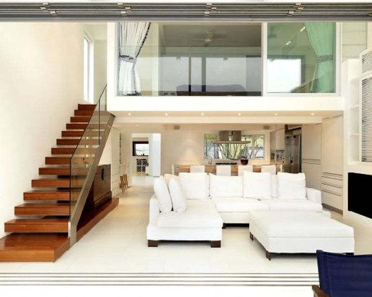Modern Beach House Living Interior Design Ideas With Cool Wooden Staircase And Glass Railing Featuring White Floor Level Sofa And Long Wooden Kitchen Island of Modern Floor Level Sofas Ideas For Your Interior Decoartions  Cheap Sofas England Sofa Furniture Sofa Mart Furniture Store Cheap Sofas for Sale IKEA Sofas . 600x480 pixels