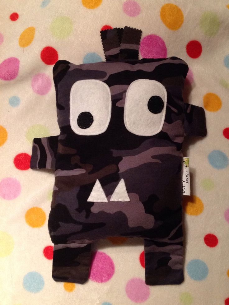 Dotty Frogs, Frankie the monster ,he is cute and soft. A friend to take to bed and cuddle.