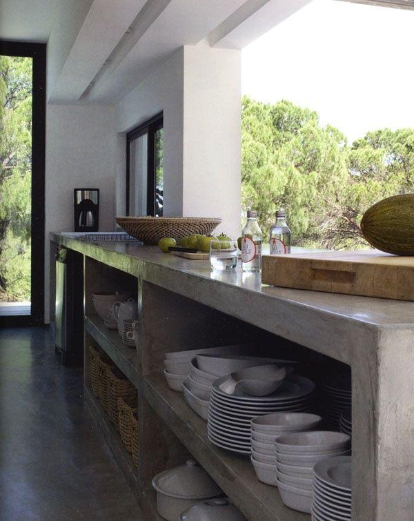 kitchen, open shelving, concrete shelves, floor