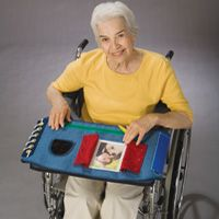 The Happy Hands Activity Overlay or Apron can provide motor and sensory stimulation for patients with diminished cognitive function. Choose from an overlay for wheelchair trays or an apron for the patient to wear.