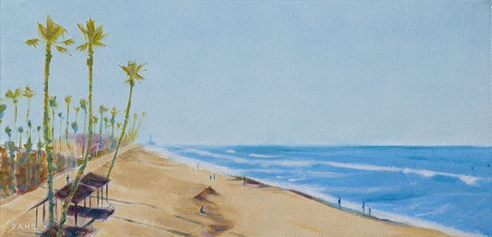 "Oceanside California. 12x24"" Oil on canvas © Chris Dahl 2014 $1,200 (unframed) free shipping worldwide. contact to purchase: http://chrisdahlcreative.com/paintings_page2010.html"