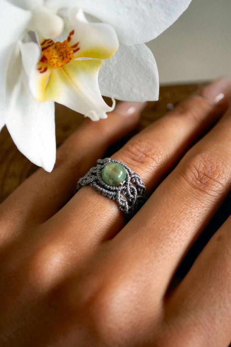 Agate macramè ring by Galene. Follow me on: https://www.facebook.com/GaleneJewels
