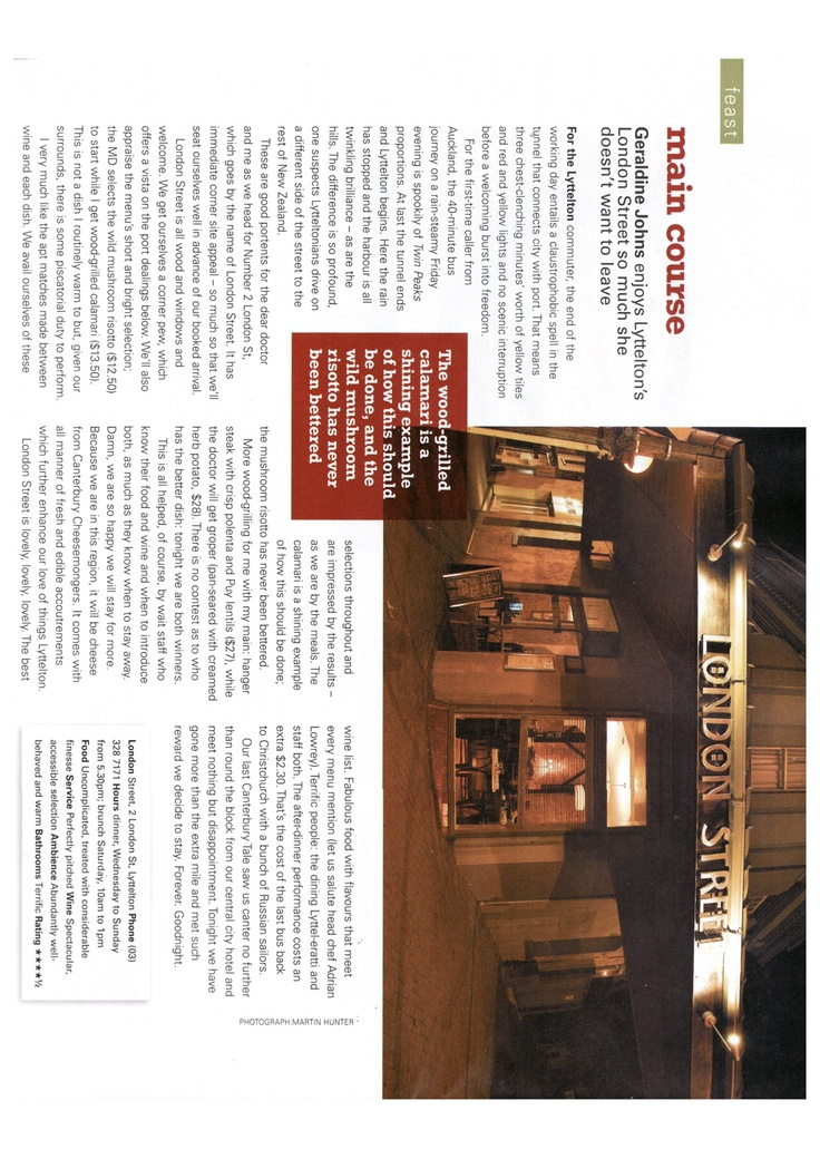 London Street's best review...Geraldine Johns nails it as to what we were about/did...