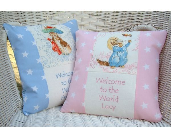Welcome a new baby to the world with this beautiful personalised cushion.
