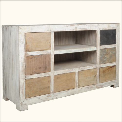 Reclaimed Rustic Old Wood 8 Drawer Shelf TV Stand Media Entertainment Cabinet | eBay