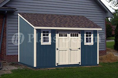 8' x 14' Backyard Deluxe Storage Shed Plans, Lean-To Roof  Style Design #D0814L