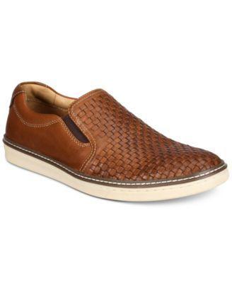 Johnston & Murphy Men's McGuffey Woven Slip-On Loafers - Tan/Beige 11.5
