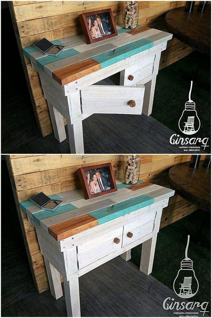 pallets wooden side table idea