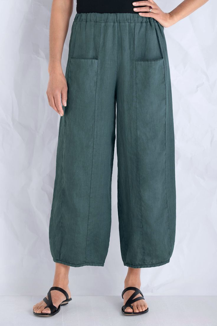 Felix Pant by Cynthia Ashby . In an era of skinny jeans, this flattering full-leg pant is a breath of fresh air supremely comfortable and easy to wear, with subtle lantern shaping and sleek front pockets.