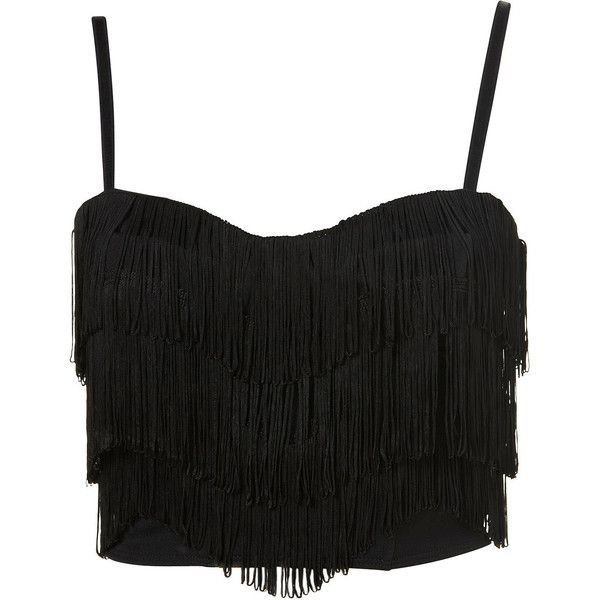 TOPSHOP Fringe Corset Top (€13) ❤ liked on Polyvore featuring tops, shirts, blusas, crop tops, black, fringe crop top, polyester shirt, topshop, black corset top and corset tops