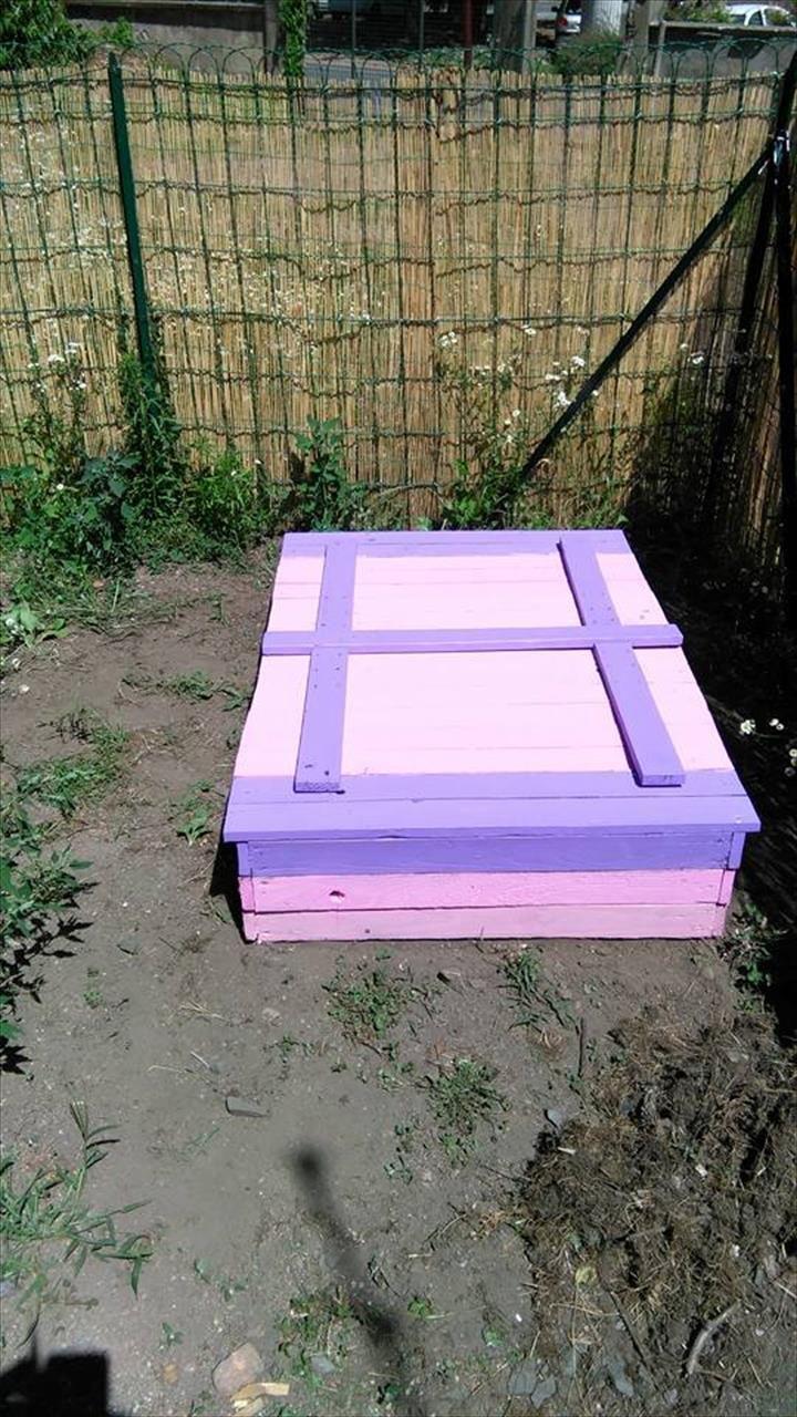 wooden pallet sandbox for kids