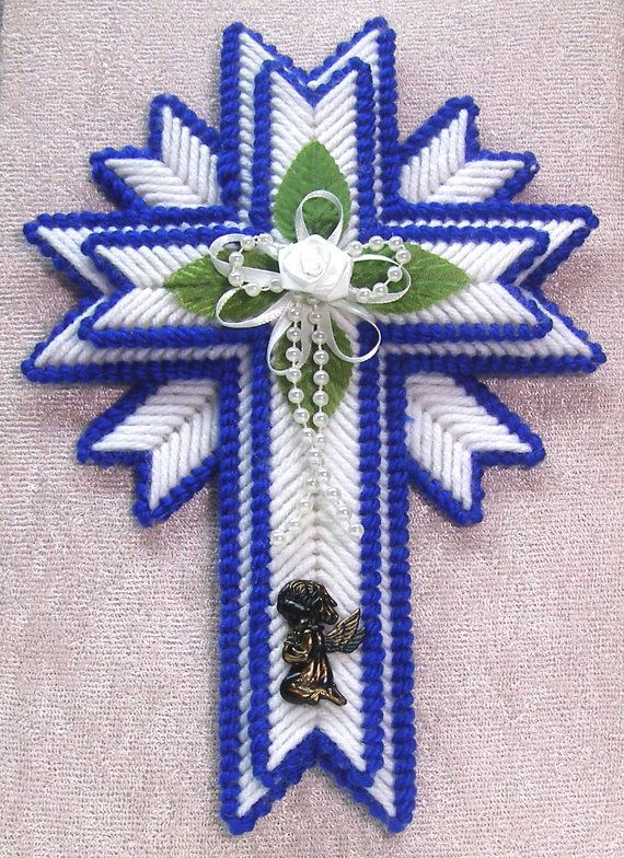 plastic canvas ribbon angel free pattern | Cross Easter in plastic canvas deep blue by mawaggiescorner