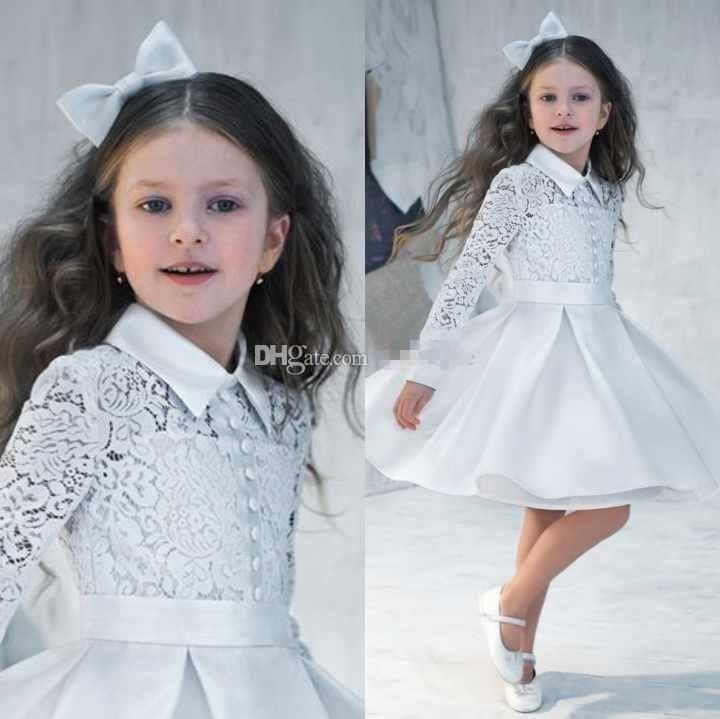 Wholesale Formal Dress - Buy 2015 Vintage Cute Flower Girls' Dresses Long Sleeve Lace High Neck Satin Knee Length Girls Formal Dress Junior Bridesmaid Dresses, $81.68   DHgate