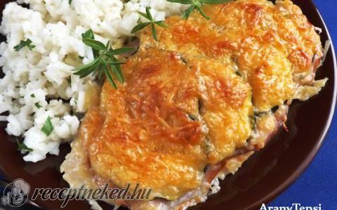 Sajtos-sonkás-cukkinis csirkeszelet