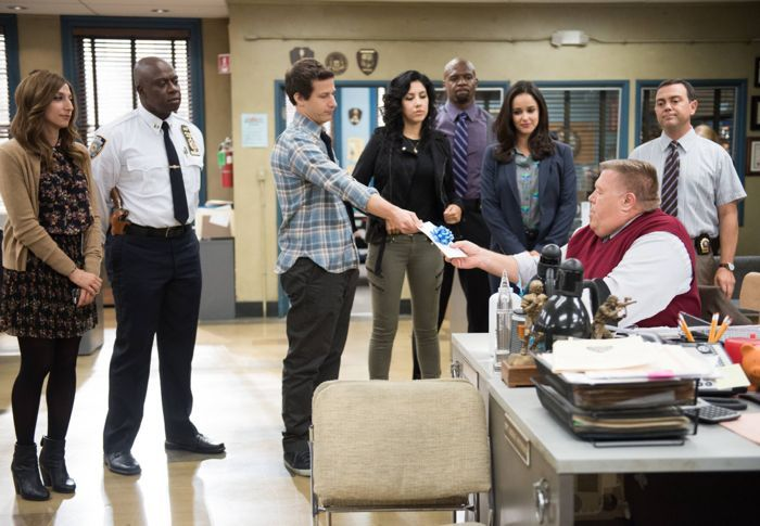 """BROOKLYN NINE-NINE: The squad forgets Scully's (Joel McKinnon Miller, seventh from L) birthday in the """"USPIS"""" episode"""