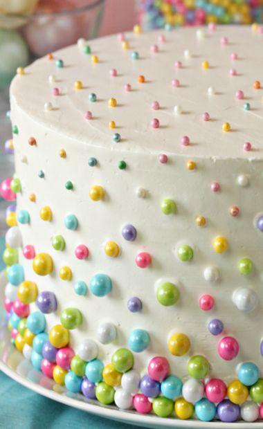 Easter Polka Dot Cake- inside & out