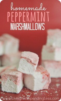 These peppermint marshmallows are fun & easy to make and so SO yummy!  Williams Sonoma sells theirs for $16.95 a package....make them to give as gifts & save a bundle!