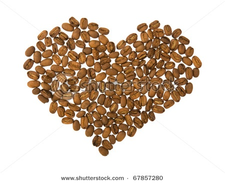 coffee art - heart shape made of coffee beans, ...: