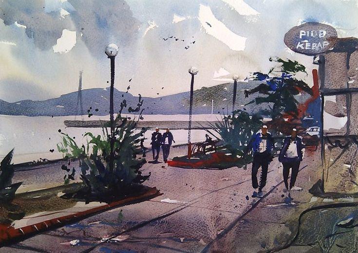 Watercolor of the Sea Front in Mudanya Turkey