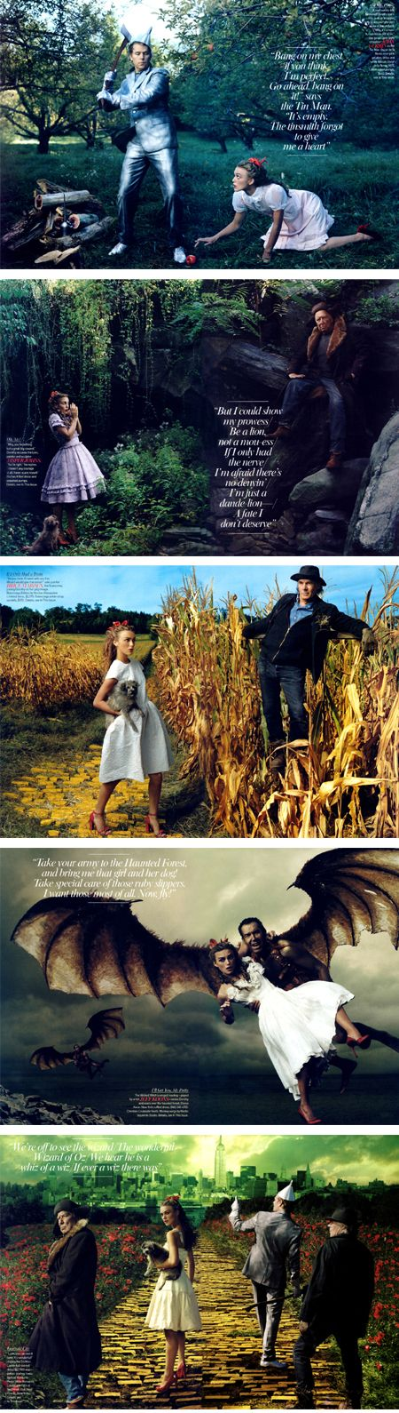 Art meets Fashion. Photographs by Annie Leibovitz. Keira Knightley plays Dorothy, John Currin as the Tin Man, Jasper Johns as the Lion, Brice Marden is the scarecrow, and Jeff Koons is the flying monkey (of course).