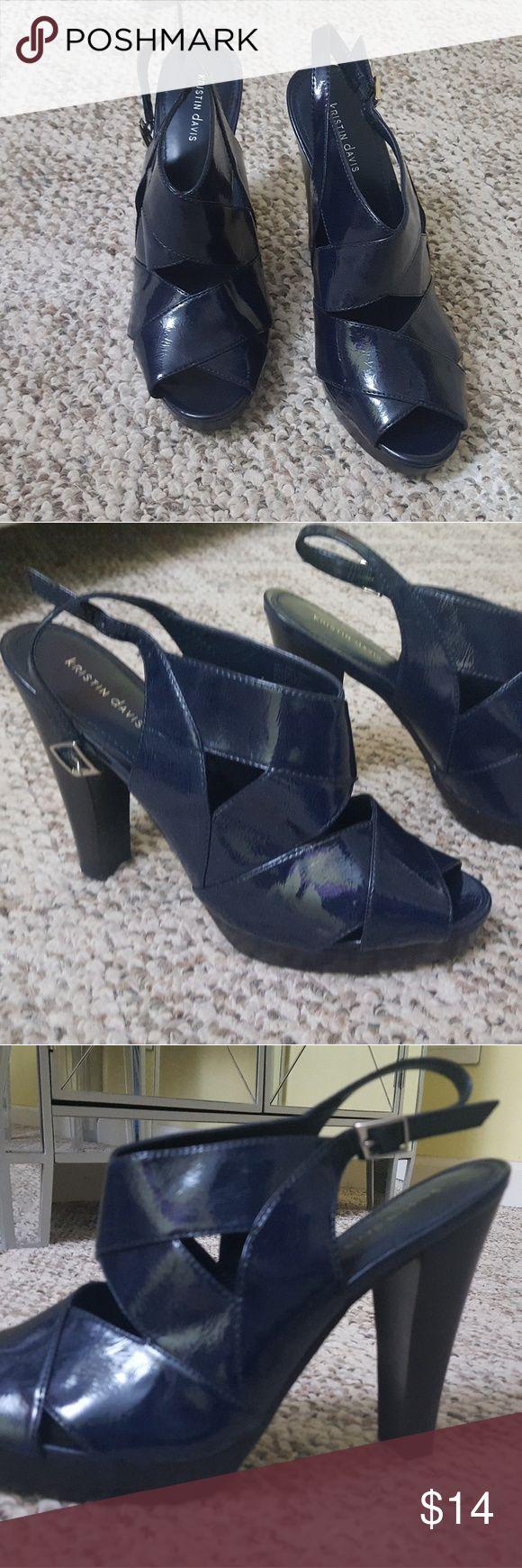 Navy Blue Kristin Davis 4-inch Strappy Heels Brand new, never been worn, Kristin Davis Heels! Size 9M 4-inch heel kristin davis Shoes Heels
