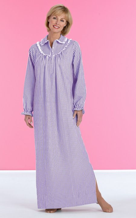 Stripe Flannel Nightgown First Lady Fashion Clothing