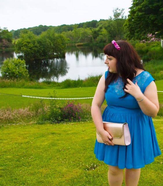 Oasis blue lace dress, Purple Crown and Glory floral Headband, Rose Gold New Look Clutch