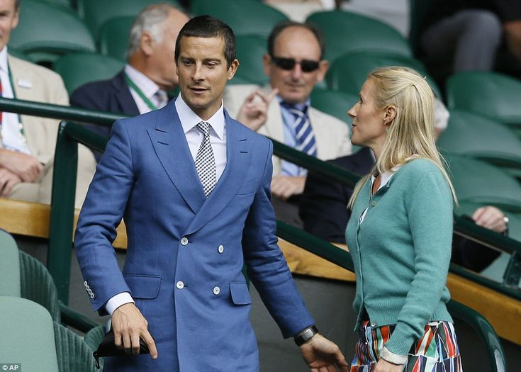 Dapper: Bear Grylls cut a dapper figure in his tailored blue suit as he arrived on court w...