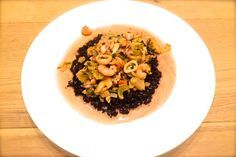 recept sticky zwarte rijst met zeevruchten in witte wijn saus