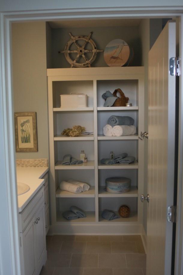 Open Linen Closet Small Bathroom Ideas Pinterest