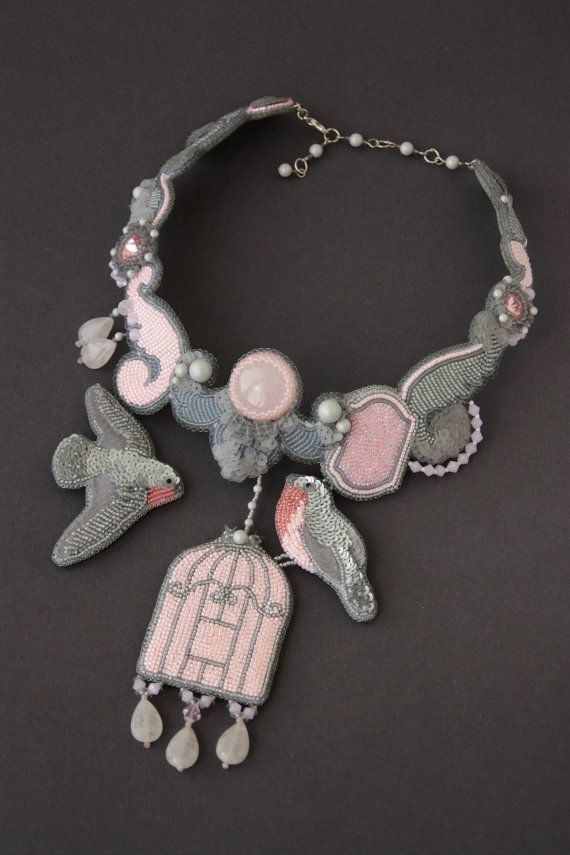 Necklace handmade beaded Embroidery birds Embroidered Necklace pink and gray Jewelry with birds Vintage birdcage beadwork pink quartz