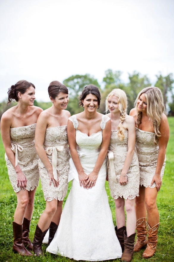 Love the champagne lace dresses!! Minus the boots for me though