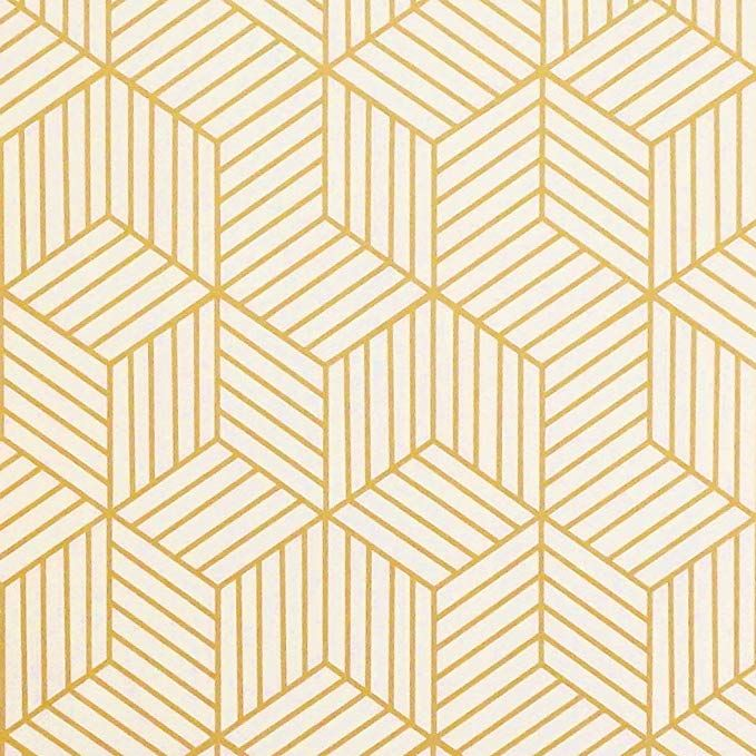 Gold And Beige Geometry Stripped Hexagon Peel And Stick Wallpaper Gold Stripes Wallpaper Luxu Gold Striped Wallpaper Geometric Removable Wallpaper Drawer Liner