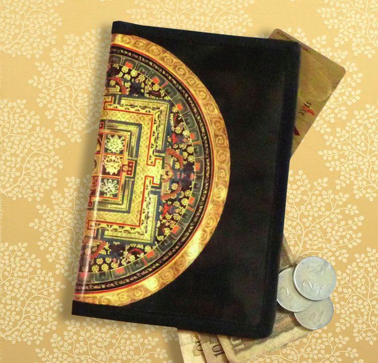 Portefeuille femme original noir et doré Tibet mandala : Porte-monnaie, portefeuilles par rougemadras