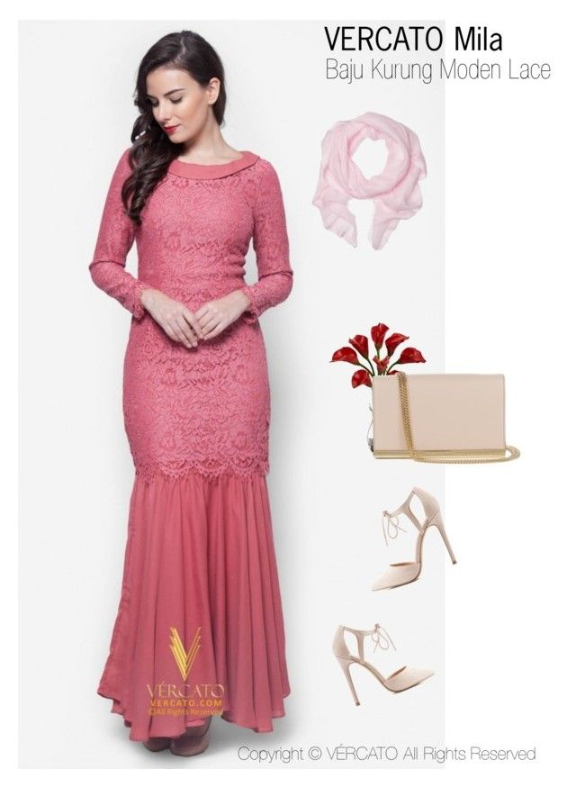 """Baju Kurung Lace Terkini 2016"" by vercato on Polyvore featuring Baju Kurung Moden Lace - Vercato Mila in Red. SHOP NOW: www.vercato.com"