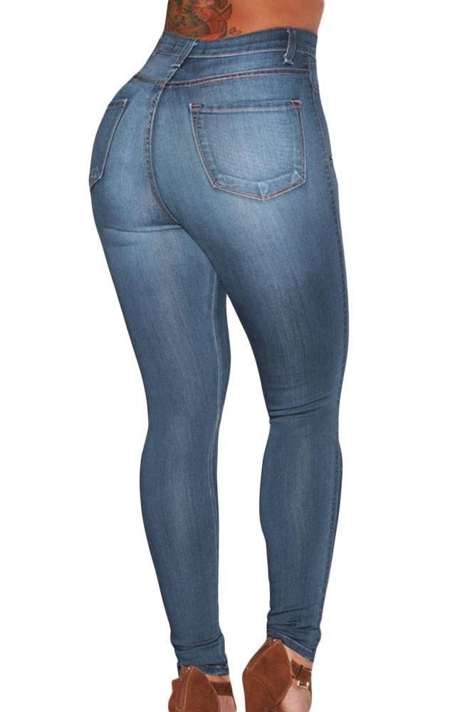 Dark Wash and Blue Medium Wash Denim - High-Waist Skinny Jeans - (US 14-16)L  / Blue Medium Wash