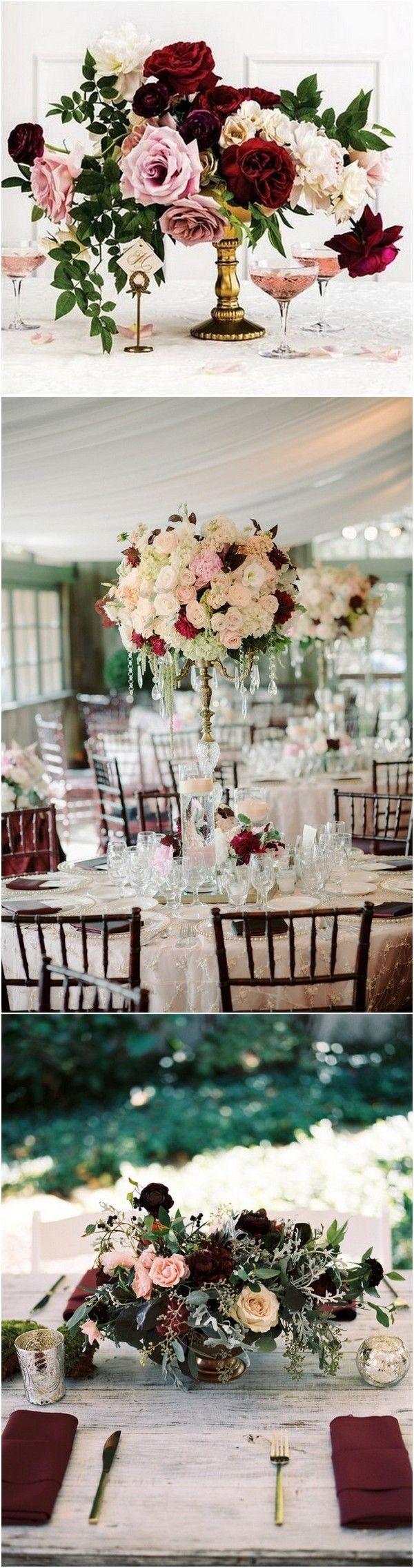 Burgundy and blush wedding centerpiece ideas