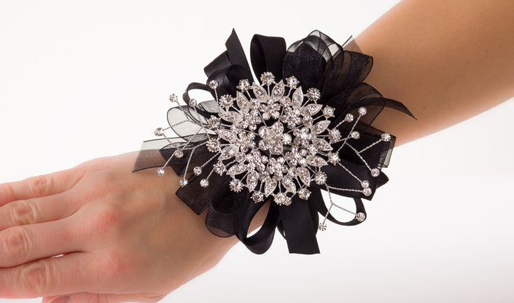 """""""Breakfast at Tiffany's"""" Prom Corsage with Sparkling Flower Brooch, Rhinestone Sprays, and Black Ribbon Loops"""