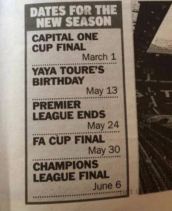 Newspaper include Yaya Touré's birthday in list of sporting events