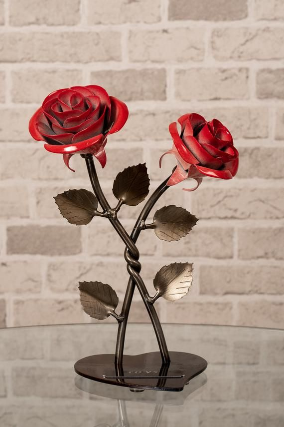 6th Anniversary Gift Hand Forged Red Iron Rose Wrought Iron Flower