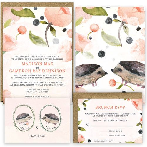 Hedgehogs - Hand Painted Wedding Announcements by Huckleberry Paper. How cute!
