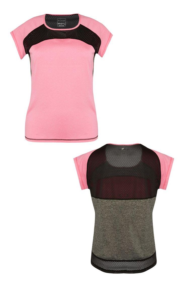 Grijs-roze T-shirt met mesh